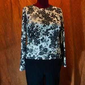 White Stag cream/black sparkly long sleeve blouse
